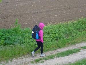 Narelle enjoys her walk in the rain.